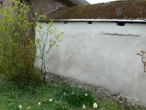 Repaired cob wall
